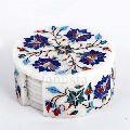 Blue Floral Design Marble Coaster Set