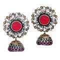 Designer Kundan Polki Silver Earrings