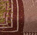 Sanskriti vintage 100% pure cotton saree brown printed sari paisley craft fabric