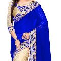 Wedding Embroidered Bollywood Georgette, Net Saree (Multicolor)