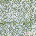 Green color Hand Block Printed Cotton Fabric 10 yards