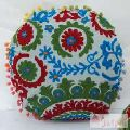 Hand Suzani Embroidered Cushion Cover Round Pillow Cases-Craft Jaipur