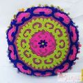 Hand Suzani Embroidered Round Cushion Cover Decor-Craft Jaipur