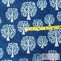 Indigo Tree Of Life Block Printed Natural Cotton Fabric-Craft Jaipur