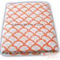 Orange Abstract Block Printed Natural Cotton Voile Fabric-Craft Jaipur