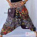 Women Cotton Black Floral Printed Trousers Yoga Harem Pants-Craft Jaipur