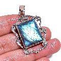Blue Fire Play Labradorite Gemstone 925 Sterling Silver Pendant