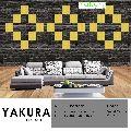 YAKURA SELF ADHESIVE FOAM WALL TILES (DIY) (pastel yellow & Black)- Made In Korea