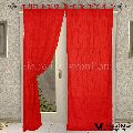 2 PCS COTTON SEMI TRANSPERANT TIE TOP RED DOOR HOME FURNISHING CURTAINS PANELS