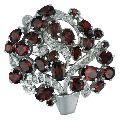 Garnet Zircon Silver Brooch