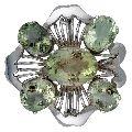 Green Amethyst Silver Brooch