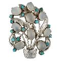 Moon Stone Turquoise Silver Brooch