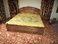 Semi Carved Wooden Double Bed