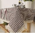 Checked Print with Lace Table Cover