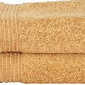 Divine Overseas 2 Piece Cotton Bath Towel Set Gold