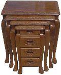 Wooden Carved Nest Table Set