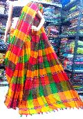 handloom Pure Khadi Saree Multi Color Box Saree