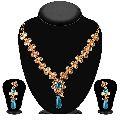 Blue And White Kundan Necklace Set
