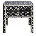 Bone Inlay Star Design Black Bedside Tables