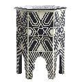 Bone Inlay Star Design Hexagonal Black End & Side Table