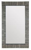 Bone Inlay Striped Design Black and White Mirror