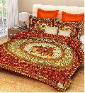 Green Colour Checkered PrintsBedsheetcotton bedsheetjaipuri bedsheet