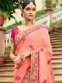 Impressive Coral Pink Art Silk Saree