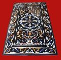Black Marble Stone Pietra Dura Dining Table Top