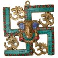 Ganesha and Swastik Brass Wall Hanging