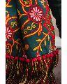 Deep green Woollen Heavily Embroidered Khadi Muffler or Stole