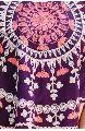 Purple Circular Khadi Poncho with pompom lace