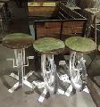 Cycle Bar Stool with reclaimed wood top