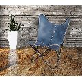 Midewin Navy Blue Leather Butterfly Chair