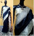 Black Plain Raw Silk Sarees