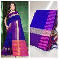 Blue Raw Silk Saree with Contrast Blouse