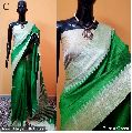 Green Plain Raw Silk Sarees