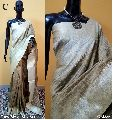 Off White Plain Raw Silk Sarees