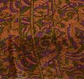 Beautiful peach colored printed pure silk saree