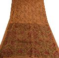 Sanskriti vintage brown colored printed pure silk saree