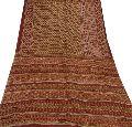 Vintage 100% pure silk ethnic saree maroon printed sari craft fabric 5 yard
