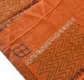 Beautiful saffron colored pure silk block printed long scarves