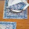 Hand Printed Blue Placemats