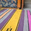 Handwoven Flat Multicolored Striped Purple Cotton Area Rug