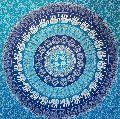 Mandala Blue Elephant Printed Tapestry