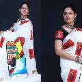 Hand loom silver border hand painted saree