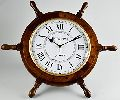 """Wooden Ship Clock Wheel 24"""" with 14"""" Clock"""