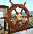 """18"""" Durable Wooden Brass Ship Wheel For Nautical Pirate Themed Home Decor Brown"""