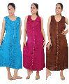 Wide Shoulder Strap Stonewashed Rayon Embroidered Dress