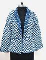 Coton Quilted Designer Women Short Quilted Indigo Jacket