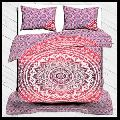 Duvet Cover Set, 100% Cotton Bedding Set Ombre Print Queen Size With Pillow Cover